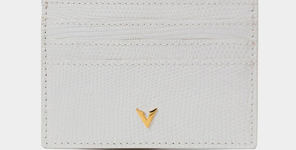 White Lizard Skin Cardholder