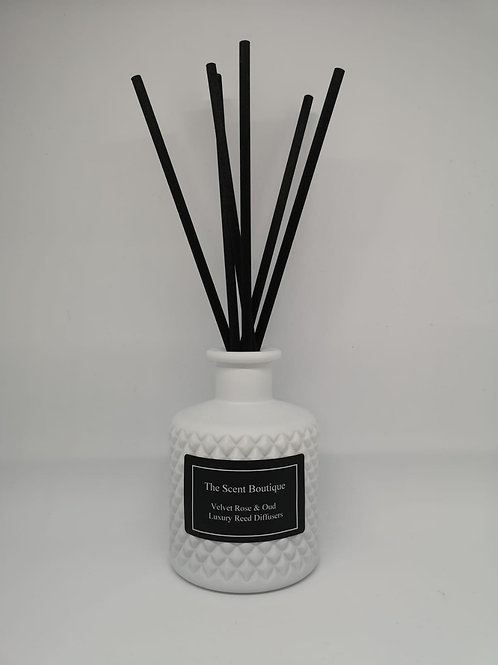 Matte White Glass Bohemian Reed Diffuser