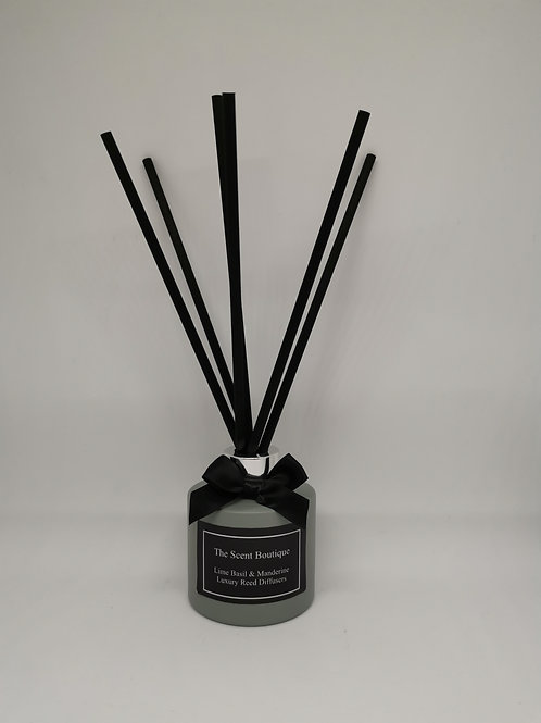 Matte Grey Glass Luxury Reed Diffuser with Silver cap and black reeds