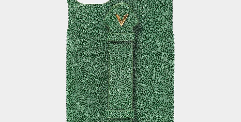 Green Stingray Skin Case with Fingerholder For iPhone 11 Pro