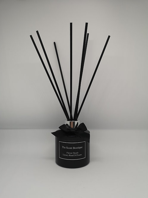 Black Glass Luxury Reed Diffuser with silver cap and black reeds