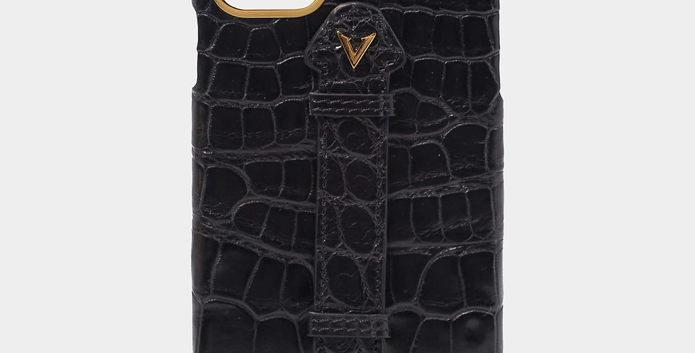 Black Crocodile Leather Case with Fingerholder For iPhone 11 Pro