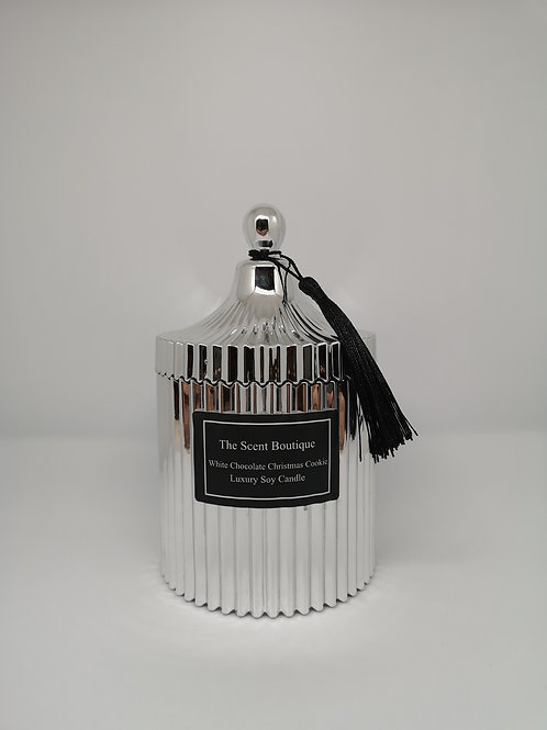 Large Silver Vintage Candle