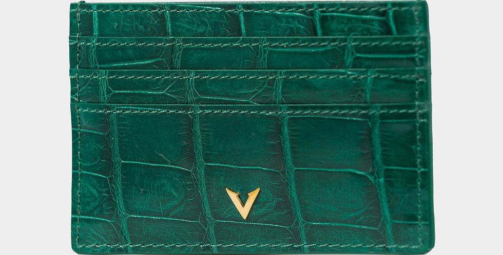 Emerald Green Crocodile Leather Cardholder