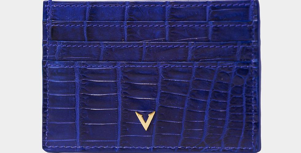 Blue Crocodile Leather Cardholder