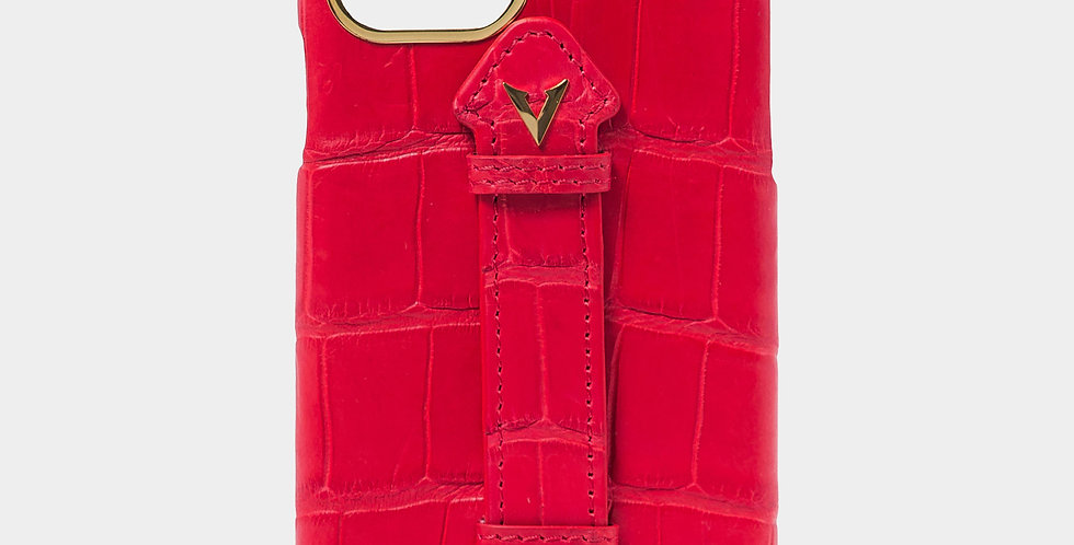 Red Crocodile Leather Case with Fingerholder For iPhone 11 Pro