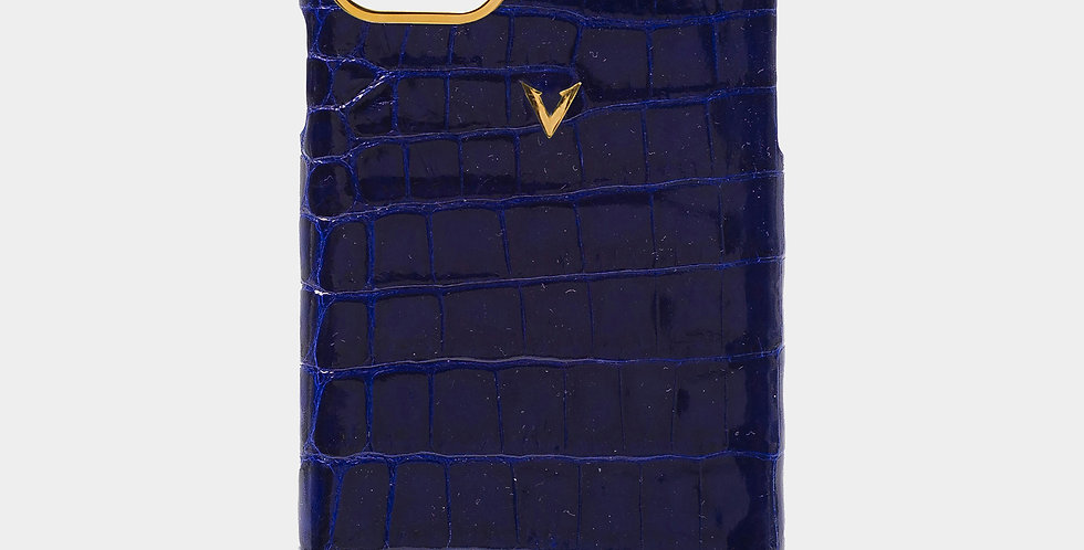 Ocean Blue Crocodile Leather Plain Case For iPhone 11 Pro Max