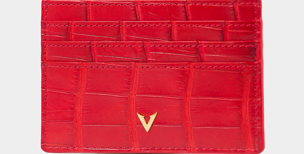 Red Crocodile Leather Cardholder