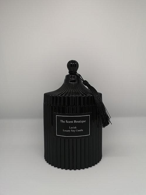 Large Black Vintage Candle