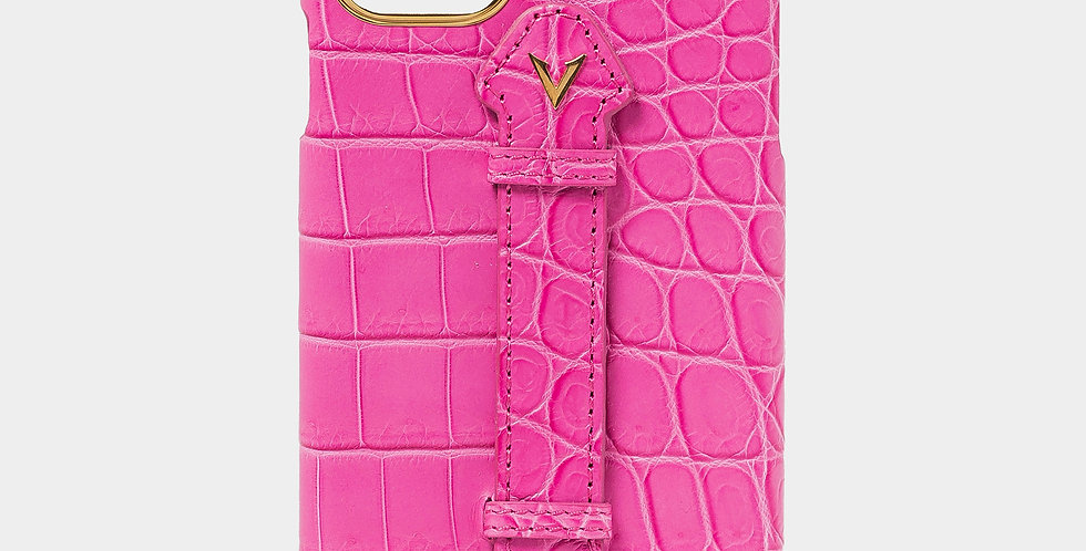 Pink Crocodile Leather Case with Fingerholder For iPhone 11 Pro