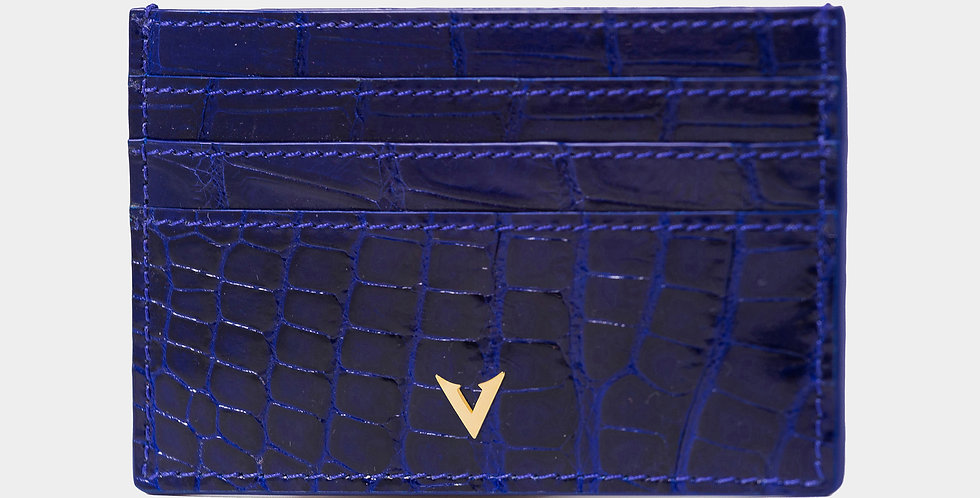 Ocean Blue Crocodile Leather Cardholder