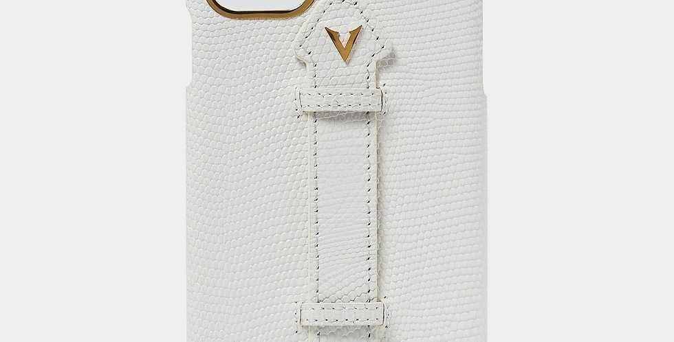 White Lizard Skin Case with Fingerholder For iPhone 11 Pro Max