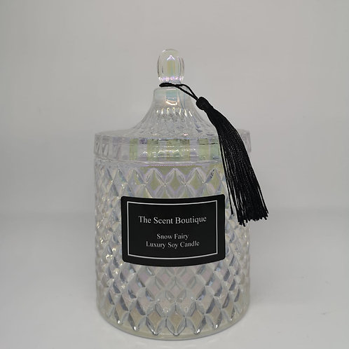 Large Clear Pearl Diamond Geo Candle