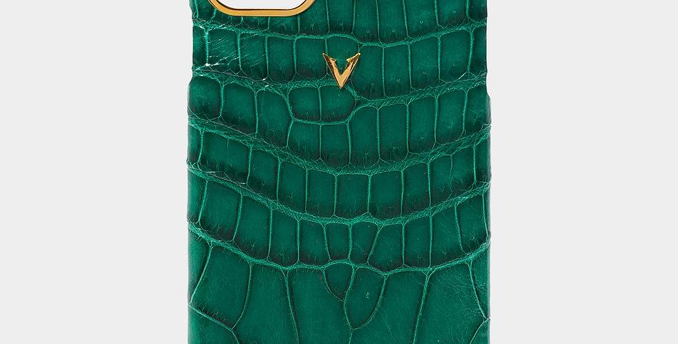 Emerald Green Crocodile Leather Plain Case For iPhone 11 Pro Max