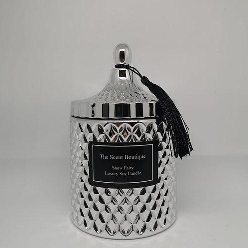Large Silver Diamond Geo Candle
