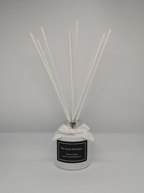 White Glass Luxury Reed Diffuser with Silver cap and white reeds.