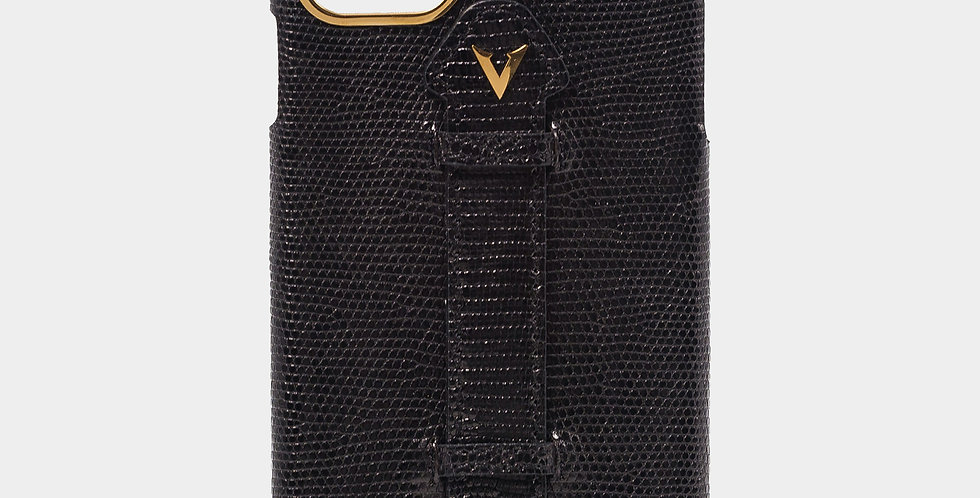 Black Lizard Skin Case with Fingerholder For iPhone 11 Pro Max