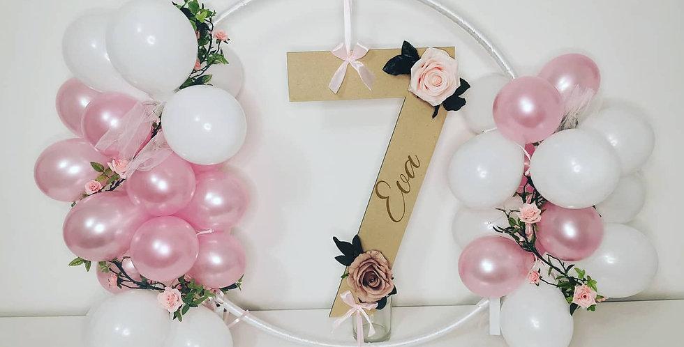 Personalised floral balloon hoop