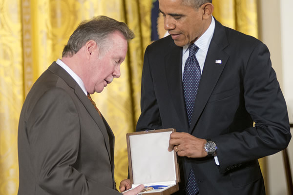 Walter Naegle accepting the Presidential Medal of Freedom on behalf of his late partner, Bayard Rustin
