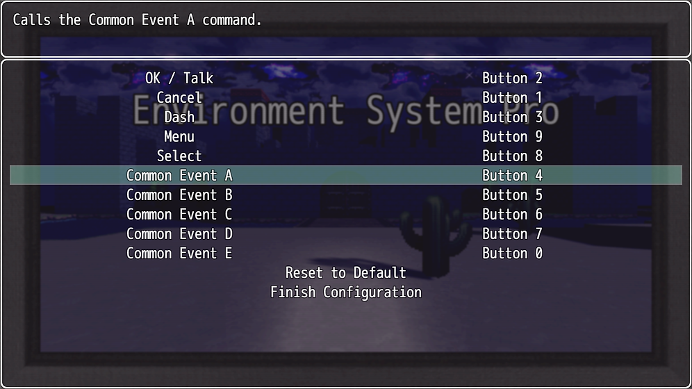 Button Common Events - Gamepad Config -
