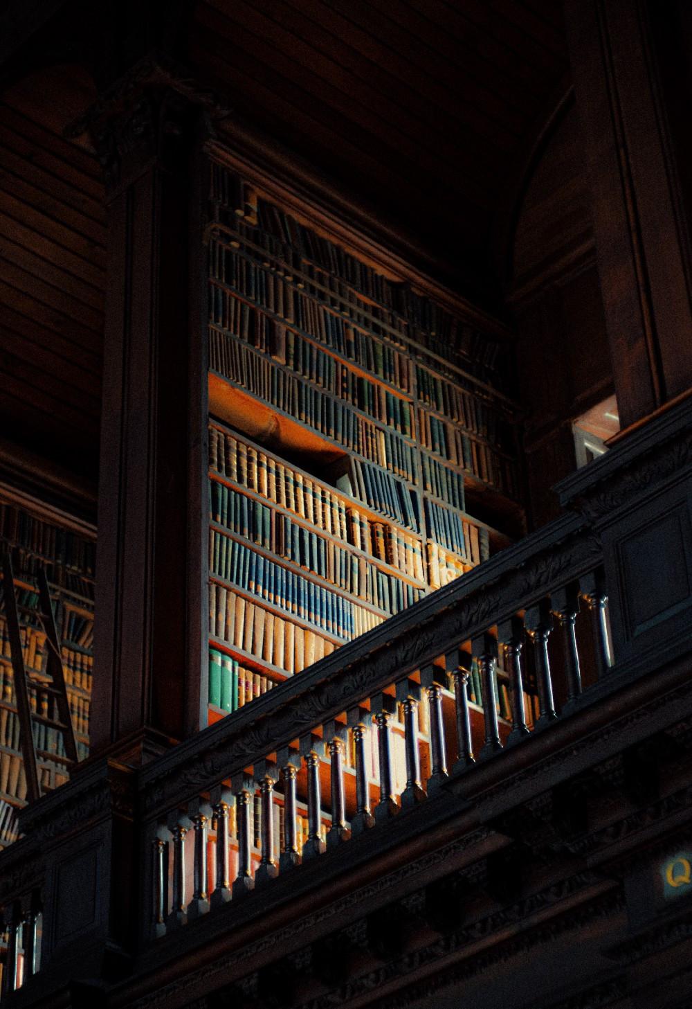 library shelves in the dark