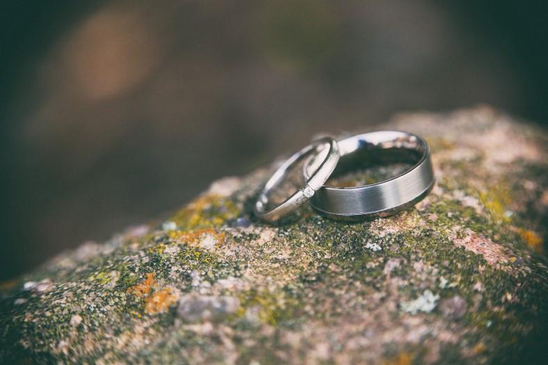 Set of silver wedding rings on rock