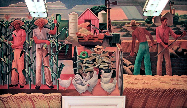 post office mural, Elgin, Texas. Farm workers