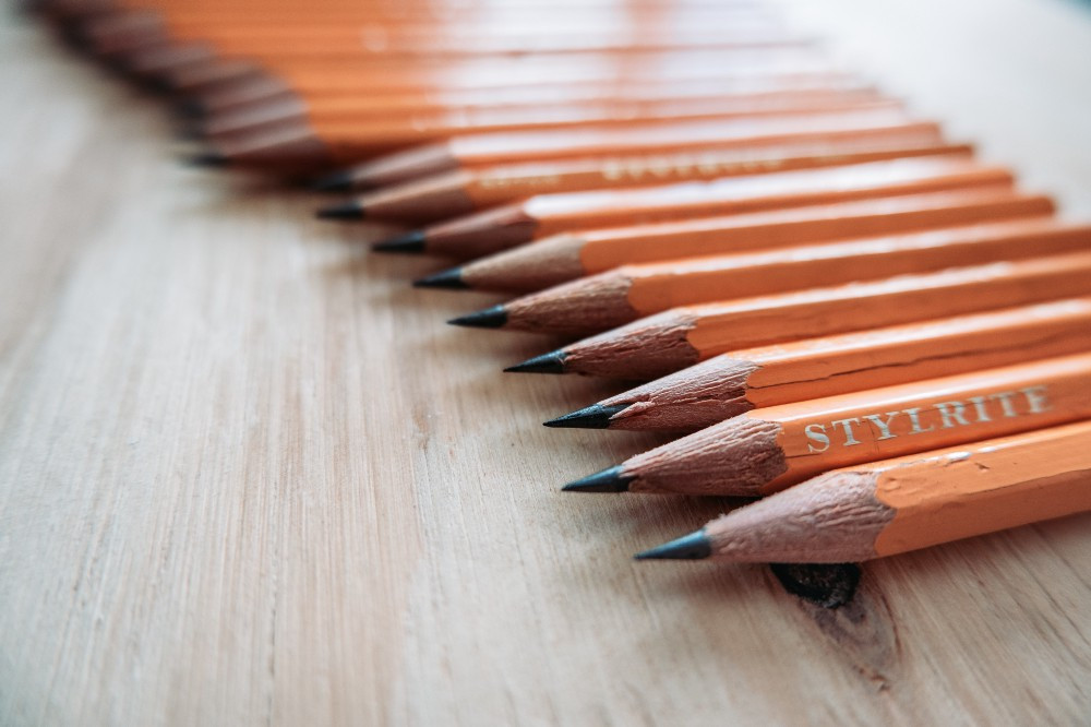 row of yellow pencils
