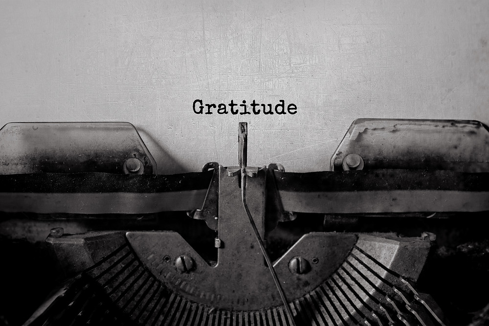 Old typewriter and gratitude