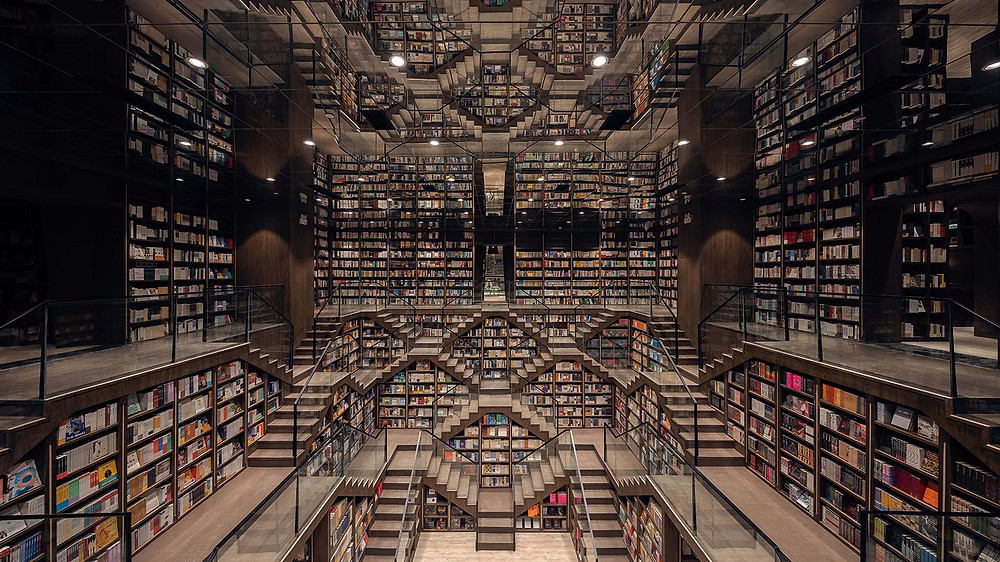 multi-tiered bookstore with thousands of books