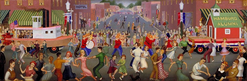Post Office Mural, restored: Street Fair in Iowa