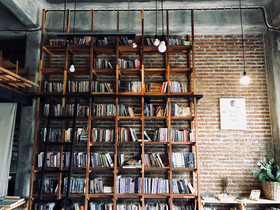 tall floor to ceiling bookshelves in tribute