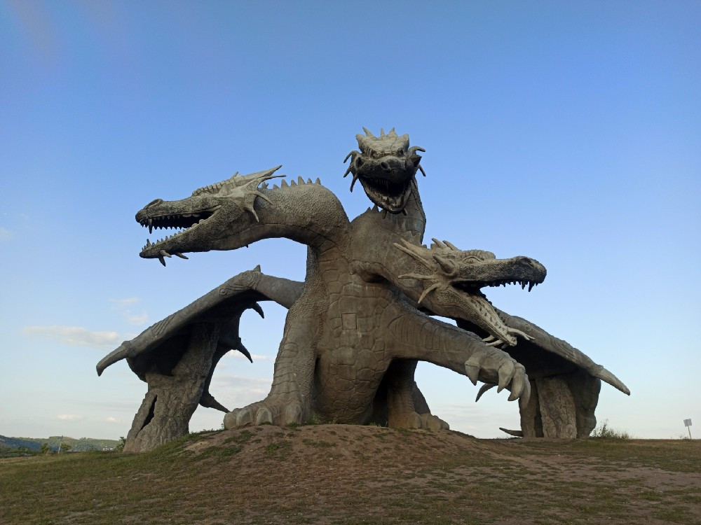 Two-headed dragon sculpture