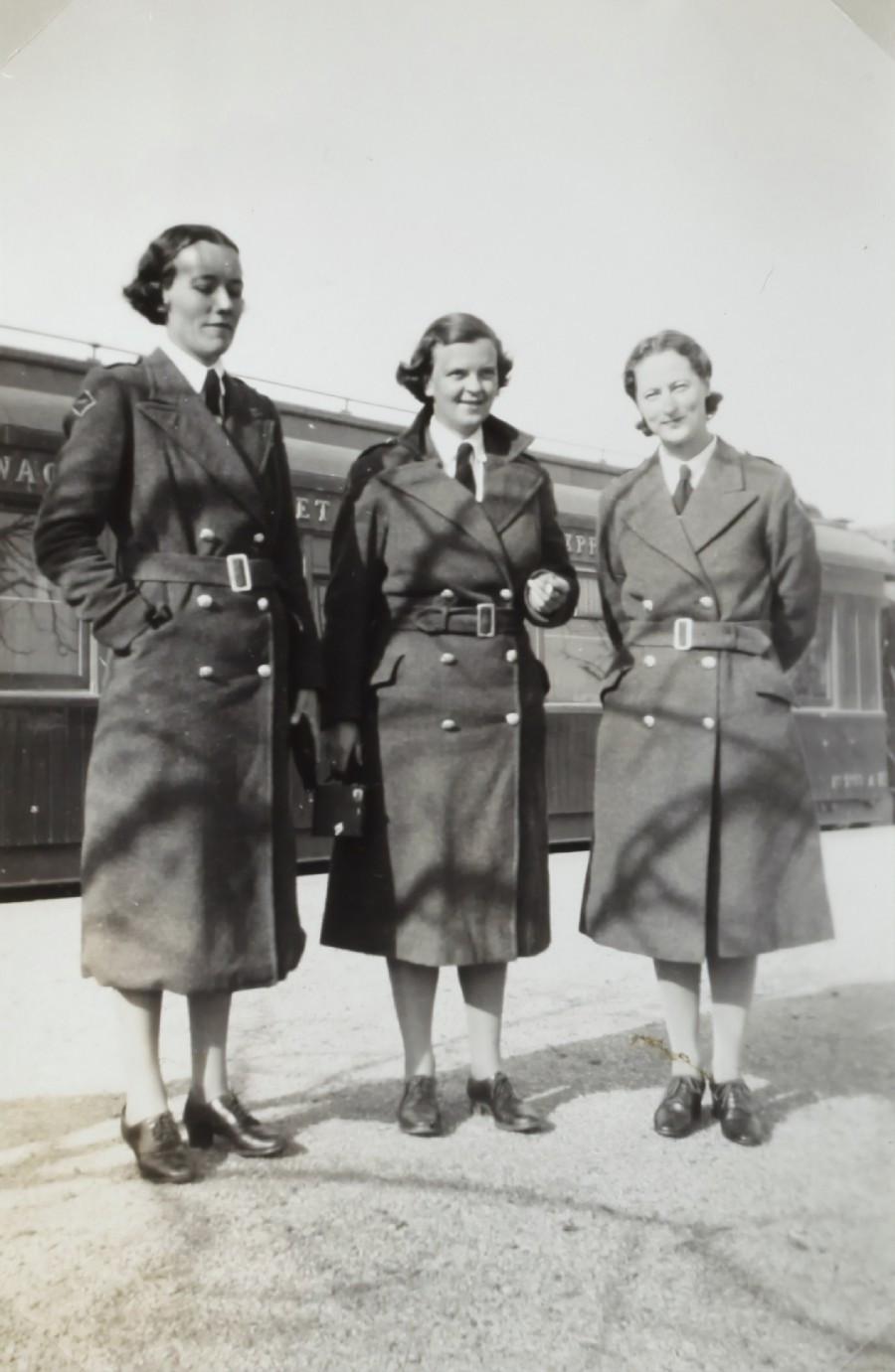 3 women in wwII uniforms