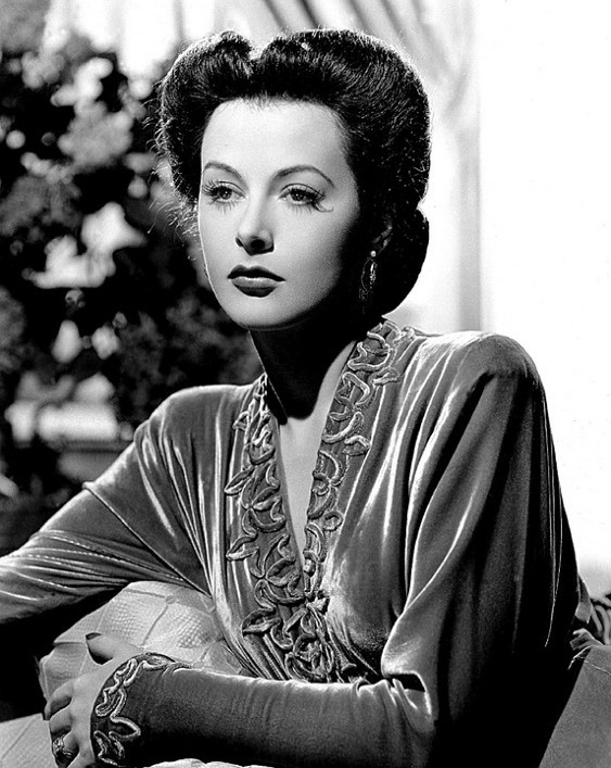 Glamour photo of Hedy Lamarr in velvet gown