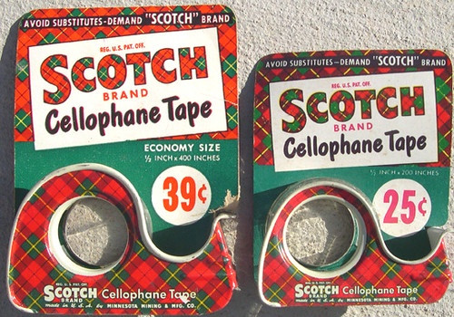 Two Vintage Scotch tape plaid dispensers