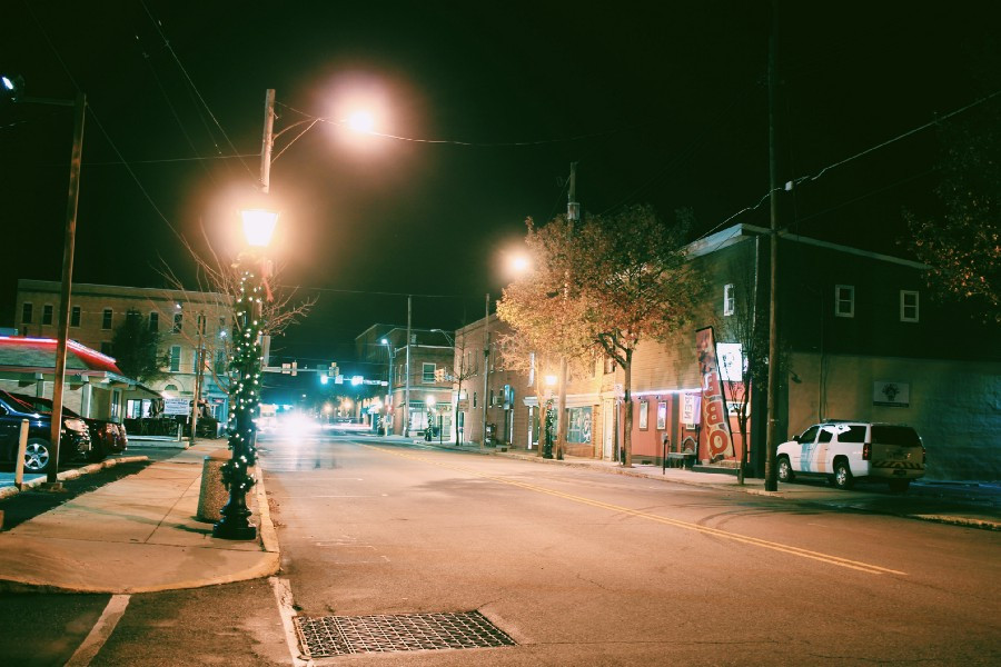 small town street at night