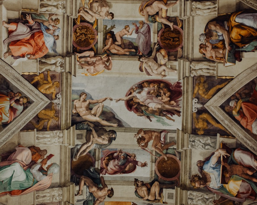 Artwork on the ceiling of the Sistine Chapel
