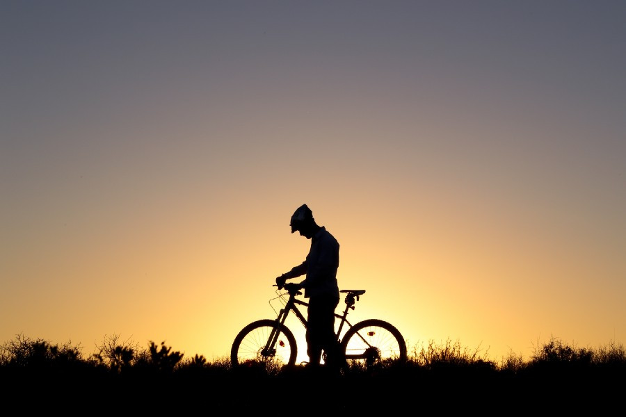 Solitary man, head bowed, by bicycle in dusk