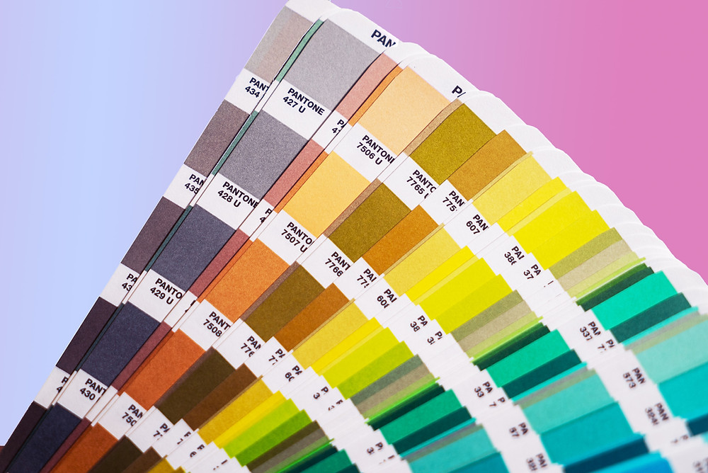 word and number coded strips of paint samples