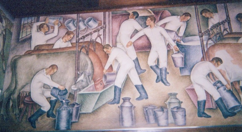 Post office mural of dairy workers wearing white: