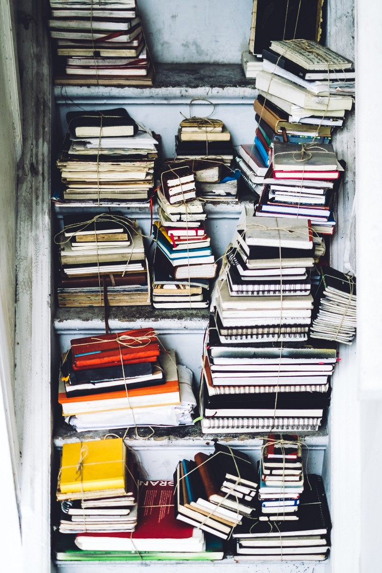 Closet filled with notebooks