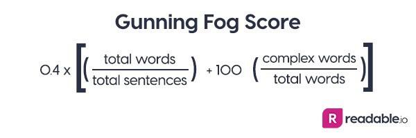 Formula for Gunning Fog Score