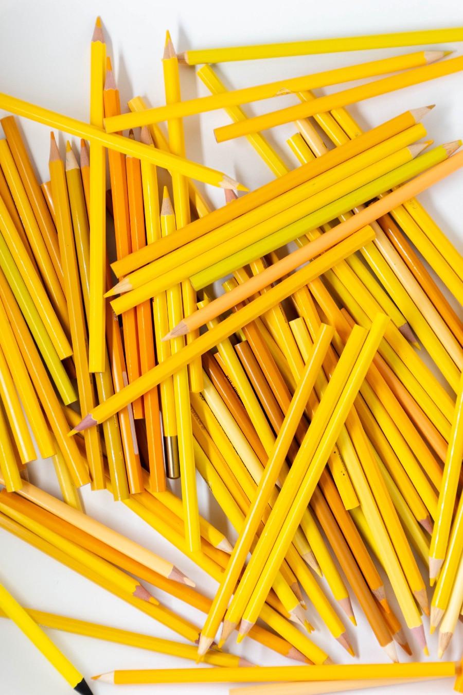 dozens of yellow pencils