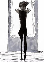 vrouw voor raam