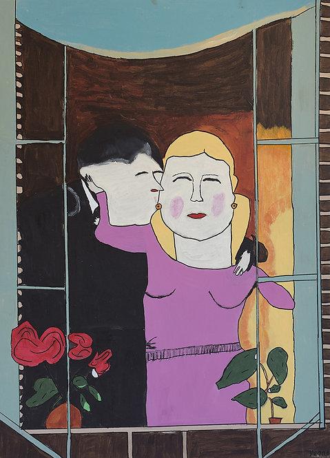 Yvonne Backs - Koppel kussend voor het raam