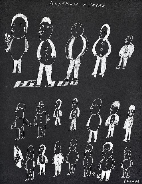 Palmer Nuyttens - allemaal mensen op zwart papier