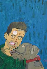 portret van man met hond