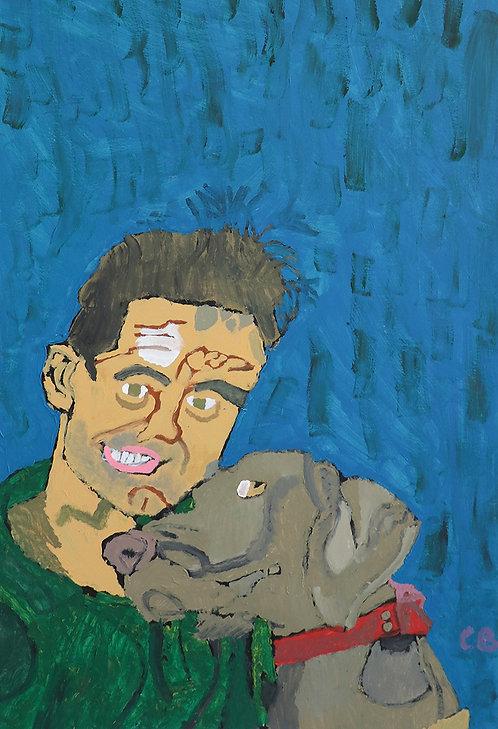 Carlo Buyck - portret van man met hond