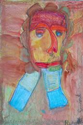 oranje portret op rode achtergrond